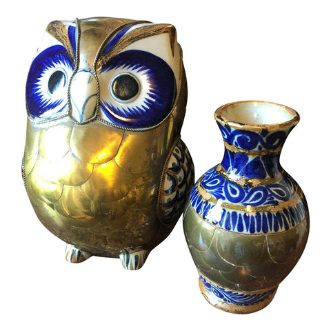 Bustamante Style Brass and Ceramic Owl and Vase