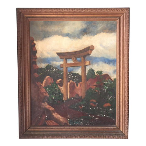 Charles L. Joyce Torii Gate Oil on Canvas Painting, Circa 1946 - FREE SHIPPING!
