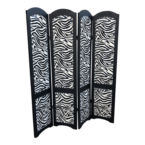 Chinese Zebra Leather Upholstered Folding Screen - FREE SHIPPING!