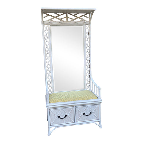 Chinoiserie Bamboo Mirror Hall Tree With Storage - FREE SHIPPING!