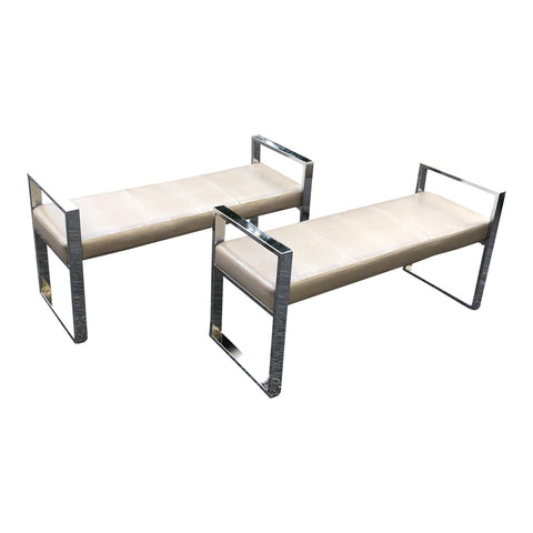 Pair of 2 Chrome Faux Alligator Upholstery Benches  FREE SHIPPING!