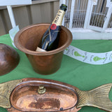 Copper and Brass Champagne Bucket With Oyster Fish Dish - Set of 2** - FREE SHIPPING!