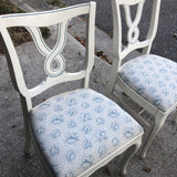 Dorothy Draper White and Blue Loop Petite Dining Chairs - Set of 4 - FREE SHIPPING!
