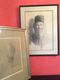 Framed Charcoal Sketches - a Pair - FREE SHIPPING!