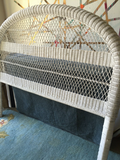Bohemian White Wicker Headboard - Queen Sized - FREE SHIPPING!