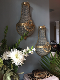 Brass Garland and Bow Sconces - a pair - FREE SHIPPING!