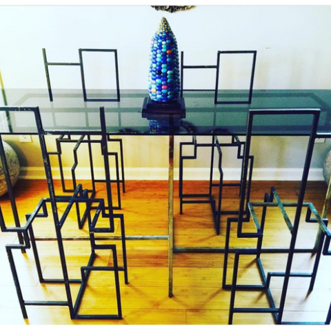 1970s Industrial Frank Lloyd Wright Geometric Museum Avante Garde Dining Table and Chairs