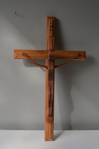 Wooden Hand Turned Jesus on the Cross - FREE SHIPPING!