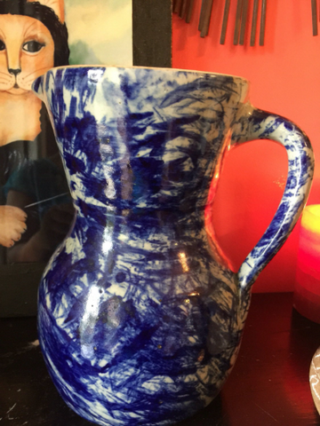 Americana Ceramic Blue and White Pitcher - FREE SHIPPING!