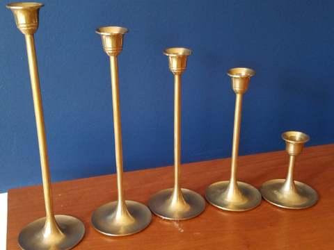 Vintage Brass Candlesticks - Set of 5 - FREE SHIPPING!