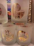 Vintage Nautical Coastal Nautilus Shell Lowball Glasses - Set of 6 - FREE SHIPPING!