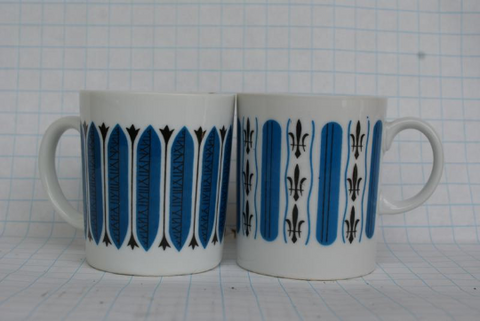 1950s Atomic Style Fleur de Lis Coffee Retro Cups - FREE SHIPPING!