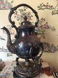 Footed Silver Teapot w Warming Dish
