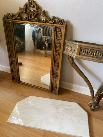 Greek Key Console Demilune with Marble Top and Matching Acanthus Mirror - 2 pieces