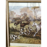 Equestrian Fox Hunting Scene With Gilded Frame - FREE SHIPPING!