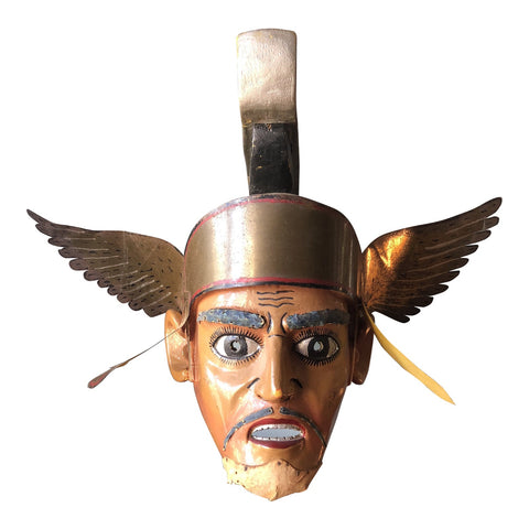 Filipino Ceremonial Brass and Wooden Winged Mask** - FREE SHIPPING!