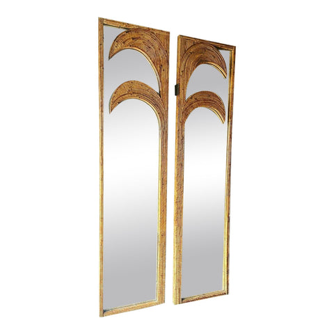 Gabriella Crespi Style Reed Wall Mirrors With Palm Details - a Pair - FREE SHIPPING!
