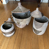 Geometric Hand Woven Monochromatic Baskets - Set of 3 - FREE SHIPPING!