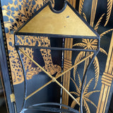 Geometric Handmade Artisan Gilded Ebonized Chair**