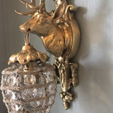 Gilded Deer Wall Sconces** - a Pair - FREE SHIPPING!