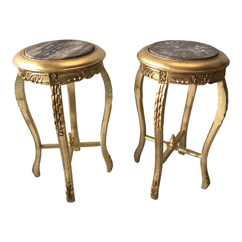 Gilded Marble Top Side Tables - A Pair - FREE SHIPPING!