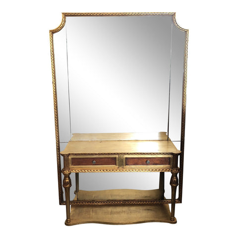 Antique Neoclassical Floor mirror and console