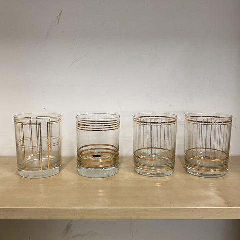 Gold Mid Century Lowball Glasses - Set of 4 - FREE SHIPPING!