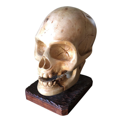 Gothic Hand Carved Wooden Skull Anatomical Sculpture - FREE SHIPPING!