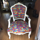 Multi-colored Graffiti White Bergere Chair - FREE SHIPPING!