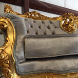Gray Velvet & Gold Throne Chairs - A Pair - FREE SHIPPING!
