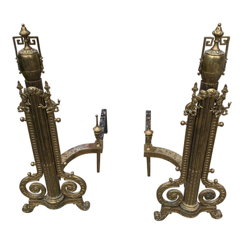 Greek Key Brass Andirons - a Pair** - FREE SHIPPING!