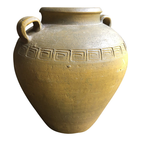 Greek Key Pottery Jug With Handles - FREE SHIPPING!