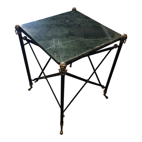 Green Marble Brass Lion Foot Side Table - FREE SHIPPING!