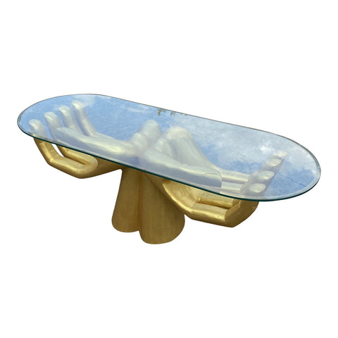 Guayasamin-Style Gold Open Hands Coffee Table