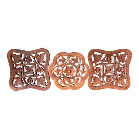 Hand-Carved Trivets - Set of 3 - FREE SHIPPING!