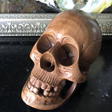 Hand Carved Wooden Skull Sculpture