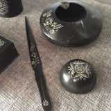 Hand Embossed Charcoal Metal Smoking Set with Letter Opener - FREE SHIPPING!