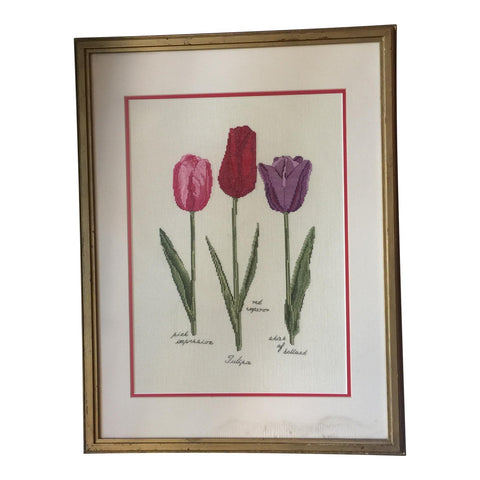 Handcrafted Needlepoint Tulips - FREE SHIPPING!