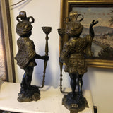 Heavy Blackamoor Brass Candlesticks** - a Pair - FREE SHIPPING!