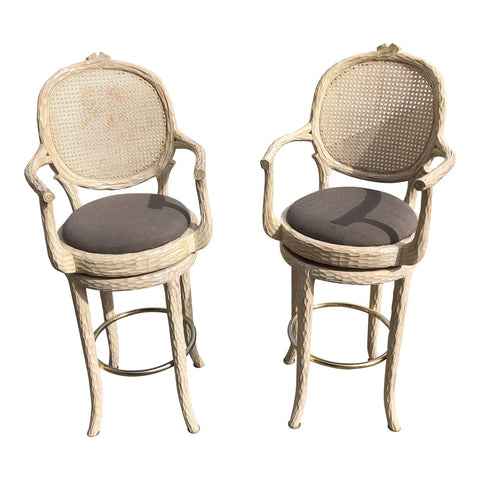 Hollywood Regency Faux Bois Cream Caned Swiveling Stools** - A Pair - FREE SHIPPING!