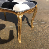 Hollywood Regency Rococo Gilded Harlequin Bench - FREE SHIPPING!