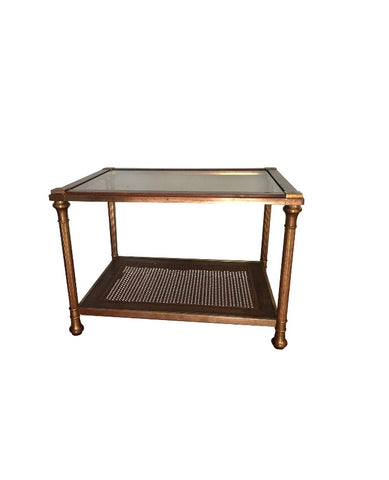 Neoclassical Brass Side Table With Cane Shelf - FREE SHIPPING!