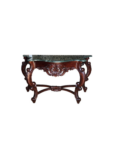 Rococo Green Marble & Wooden Console Table