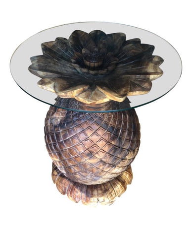 Pineapple wooden dining table. Glass included. Fig House Vintage Warehouse