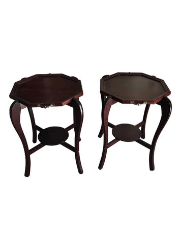 Traditional Cherry Wood Side Tables - Pair Of