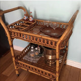 Woven Rolling Bar Cart with Trays