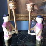 Hand painted Pink Asian Cast Iron Candleholders- A Pair