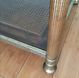 Neoclassical Brass Side Table With Cane Shelf