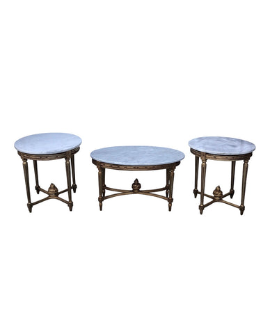 Gilded Marble Cocktail & Accent Tables - Set of 3