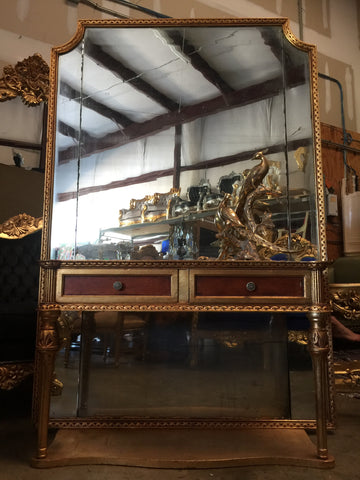 Attractive Antique Neoclassical Floor Mirror And Console